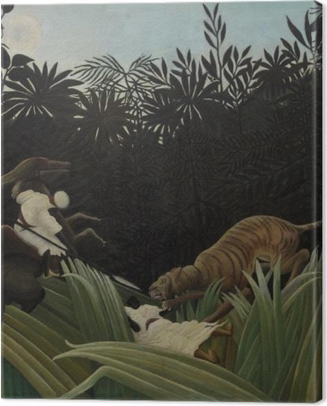 Leinwandbild Henri Rousseau - Kundschafter von einem Tiger angegriffen - Reproduktion