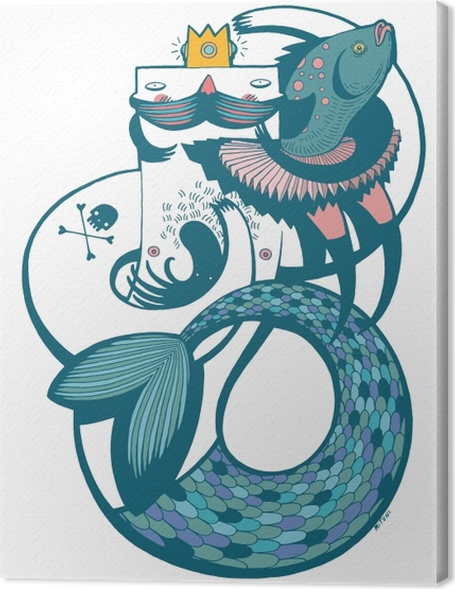 Leinwandbild Herr Meerjungfrau in blau -
