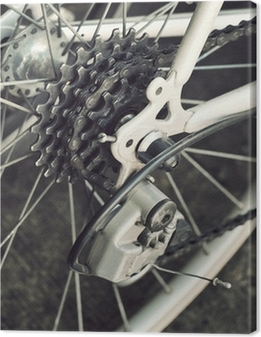 Leinwandbild Hinten Rennrad Kassette auf dem Rad mit Kette