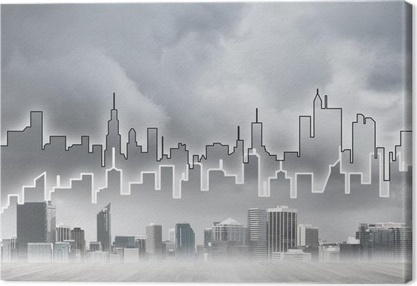 Charmant Leinwandbild Hintergrundbild Mit Blick Auf Die Innenstadt Als Modernes  Geschäftsleben Konzept