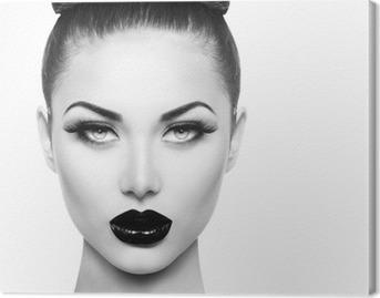 Leinwandbild Hohe Art und Weise Schönheit Modell Mädchen mit schwarzen Make-up und lange lushes