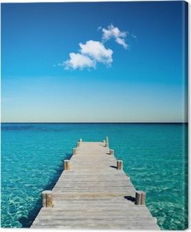 Leinwandbild Holzponton Strandurlaub