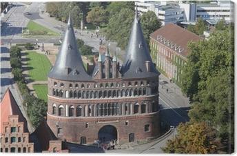 Leinwandbild Hostentor zu Lübeck aus der Vogelperspektive