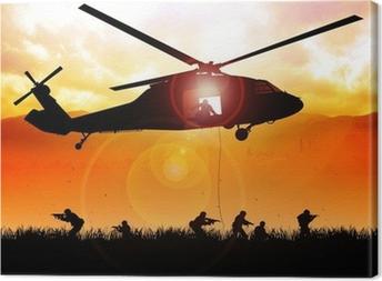 Leinwandbild Hubschrauber sinkt die Truppen