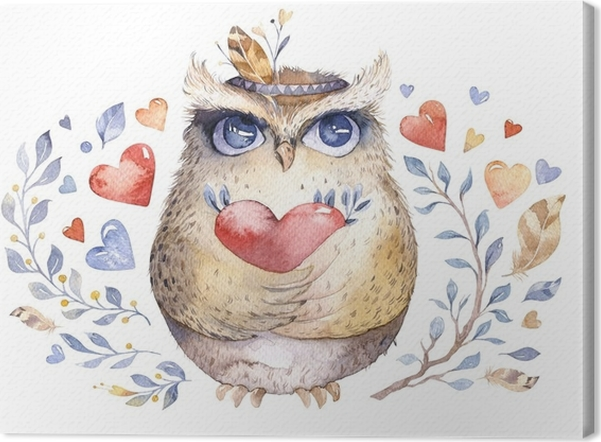 Leinwandbild Ich liebe dich. reizende Watercolorillustration mit ...