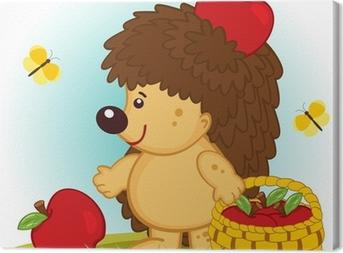 Leinwandbild Igel mit Korb mit Äpfeln - Vektor-Illustration.