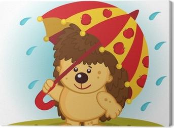 Leinwandbild Igel mit Regenschirm in der regen - Vektor-Illustration