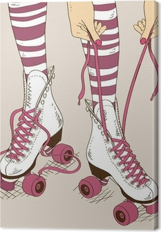 Leinwandbild Illustration mit weiblichen Beine im Retro-Rollschuhe