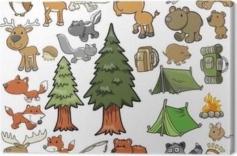 Leinwandbild Im Freien Wildlife Camping Vector Design Set