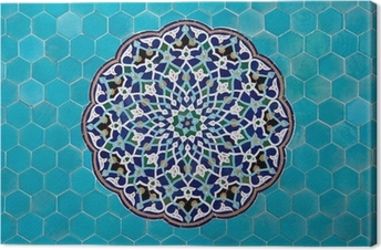 Leinwandbild Islamische Mosaik-Muster mit blauen Kacheln