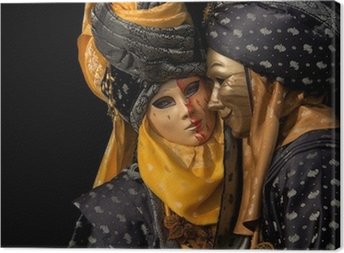 Leinwandbild Isoliert auf schwarz venezianischen Paar