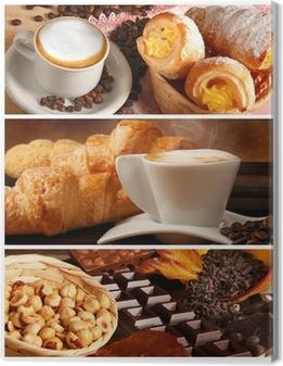 Leinwandbild Italienische Speisen, Cappuccino und heiße Schokolade mit Haselnüssen
