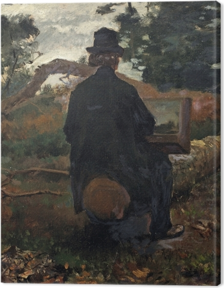 Leinwandbild Jacob Maris - Maler Frederik Hendrik Kaemmerer bei der Arbeit in Oosterbeek - Reproductions