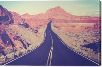 Leinwandbild Jahrgang getönten gebogene Wüste Autobahn, Reise-Konzept, USA