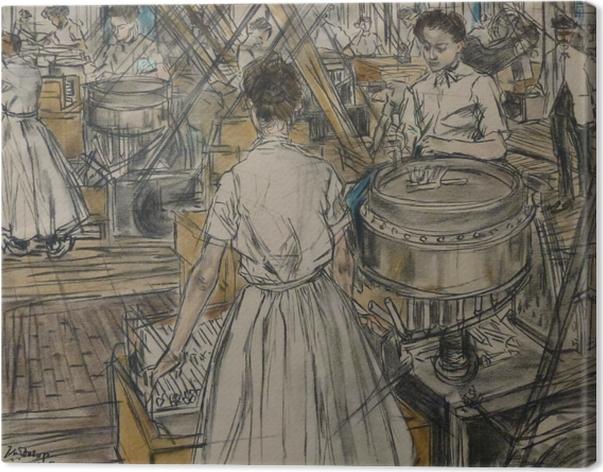 Leinwandbild Jan Toorop - Kerzenfabrik in Gouda, 1 - Reproductions