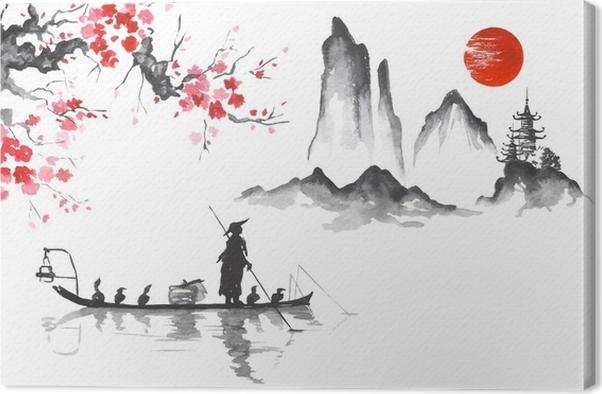 Leinwandbild Japan Traditionelle Japanische Malerei Sumi E Kunst Mann Mit  Boot