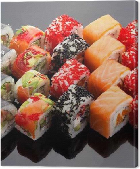 Leinwandbild Japanische Küche. Sushi-Set auf schwarzem Hintergrund ...