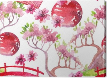 Leinwandbild Japanische nahtlose Muster