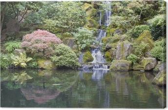 Leinwandbild Japanischer Garten Koi Teich mit Wasserfall