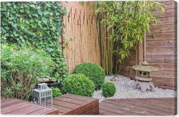 Leinwandbild Japanischer Garten Mit Bambus Und Steinlaterne Pixers