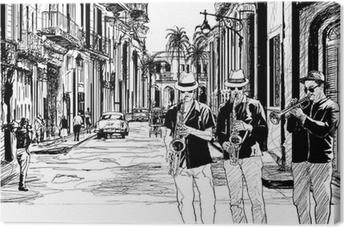 Leinwandbild Jazz-Band in Kuba