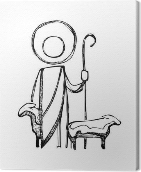 Leinwandbild Jesus gute Hirte Illustration • Pixers® - Wir leben, um ...