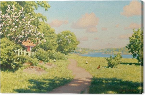 Leinwandbild Johan Krouthén - Landschaft mit Hühnern - Reproductions