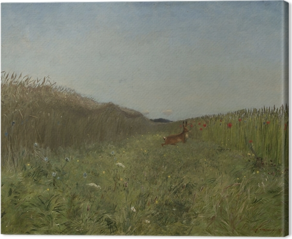 Leinwandbild Józef Chełmoński - Hase auf dem Feld - Reproductions