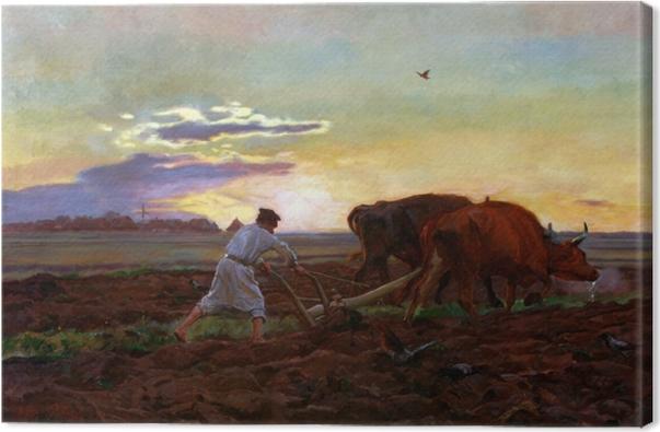 Leinwandbild Józef Chełmoński - Pflügen - Reproductions