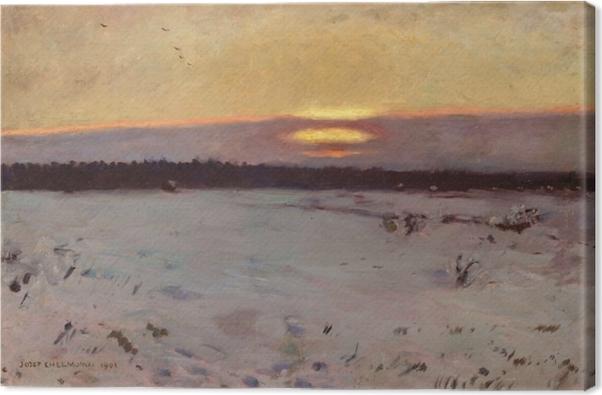 Leinwandbild Józef Chełmoński - Sonnenuntergang im Winter - Reproductions