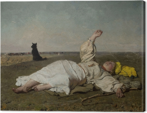 Leinwandbild Józef Chełmoński - Störche (Altweibersommer) - Reproductions