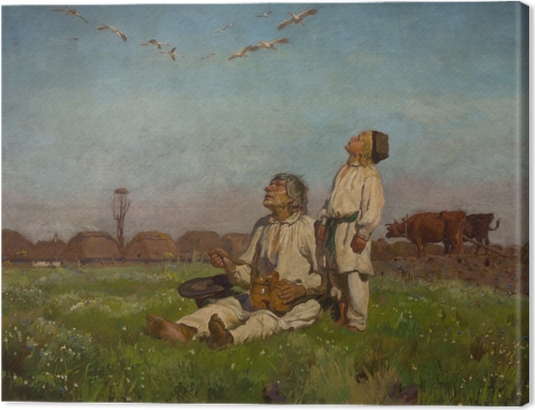 Leinwandbild Józef Chełmoński - Storche - Reproductions