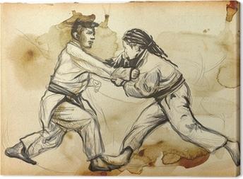 Leinwandbild Judo - ein voller Größe Hand gezeichnete Illustration