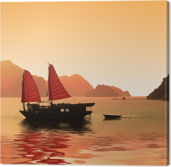 Leinwandbild Junk in Halong Bay - Vietnam