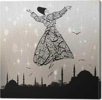 Leinwandbild Kalligraphie Derwisch und Istanbul Moscheen