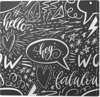 leinwandbild kalligraphie hand schriftzug nahtlose muster positive zeichen stern herz sprechblasen - Handyhullen Muster