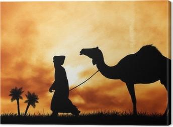 Leinwandbild Kamel in der Wüste