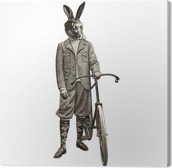 Leinwandbild Kaninchen Fahrrad