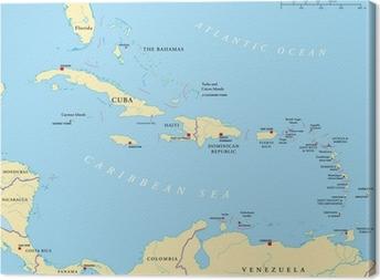 Kleine Antillen Karte.Leinwandbild Karibik Grosse Und Kleine Antillen