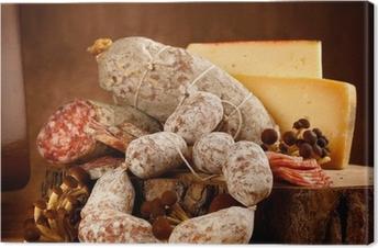 Leinwandbild Käse und Salami