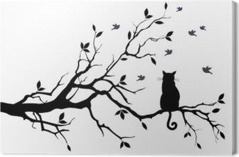 Leinwandbild Katze auf einem Baum mit Vögeln, Vektor