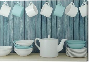 Leinwandbild Keramik-Geschirr auf dem Regal.