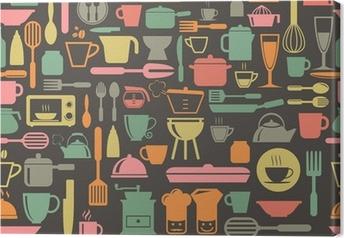 Leinwandbild Kitchen tools nahtlose Muster mit Retro-Farben, Vektor-Format