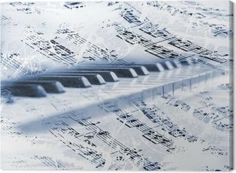 Leinwandbild Klaviertasten mit Noten