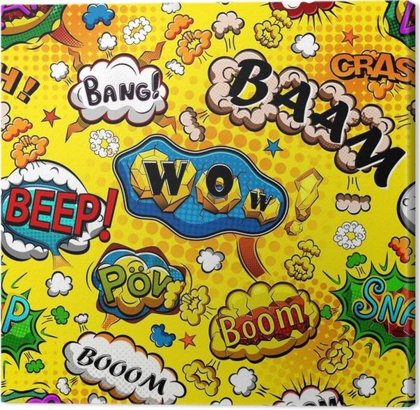 leinwandbild komische rede sprudelt nahtloses muster mit gelbem hintergrundvektor - Hochzeitsrede Muster