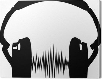 Leinwandbild Kopfhörer Audio Welle Frequenz Musik Sillhouette