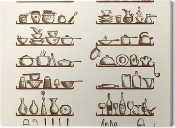 Leinwandbild Küchengeräte auf Regalen, Skizze, Zeichnung für Ihre Konstruktion