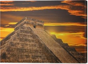 Leinwandbild Kukulkan-Pyramide in Chichen Itza Website