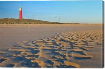 Leinwandbild Küste mit Sanddünen und Leuchtturm bei Sonnenuntergang