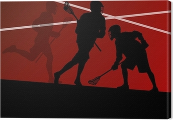 Leinwandbild Lacrosse-Spieler aktiven Sport Silhouetten Hintergrund illustrati